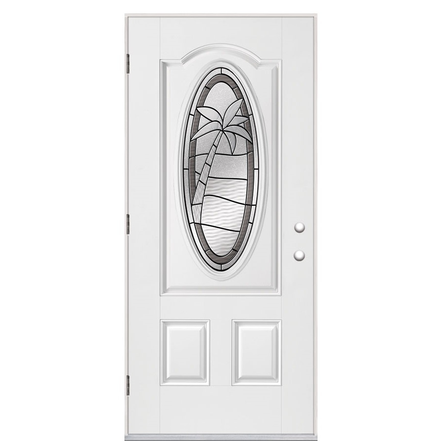 Masonite Palm Tree 2-Panel Insulating Core Oval Lite Right-Hand Outswing Primed Fiberglass Prehung Entry Door (Common: 36-in x 80-in; Actual: 37.5-in x 80.375-in)