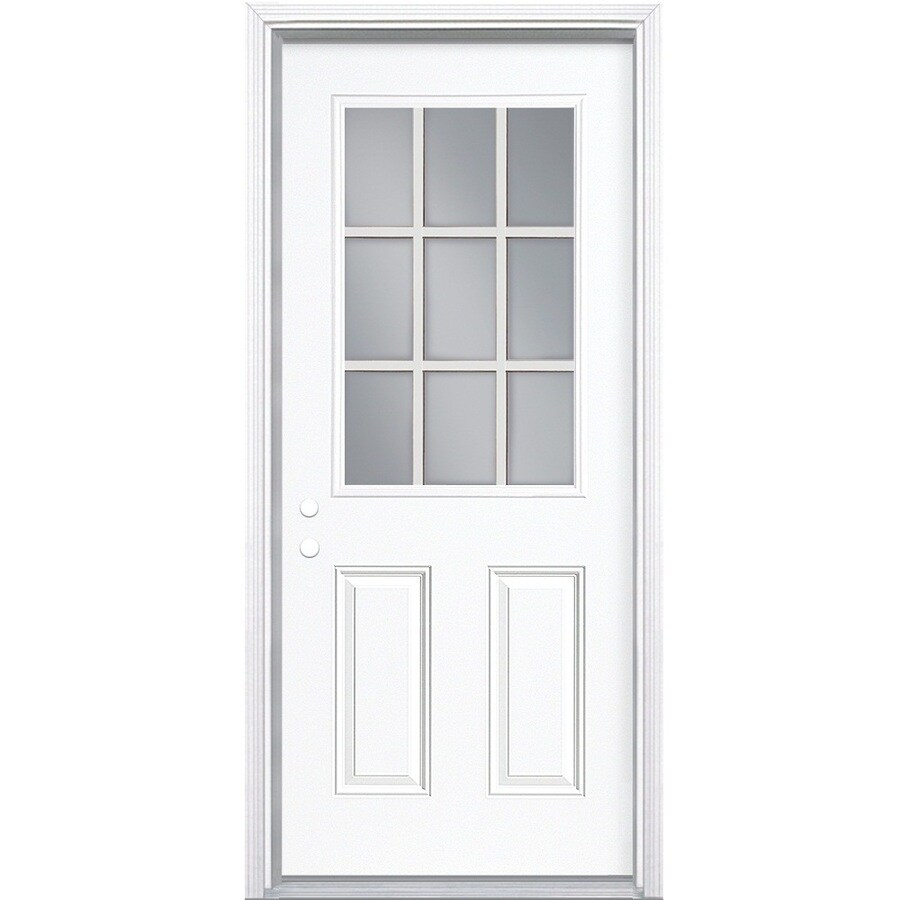 Masonite 2-Panel Insulating Core 9-Lite Right-Hand Inswing Steel Primed Prehung Entry Door (Common: 32-in x 78-in; Actual: 33.5-in x 79.5-in)