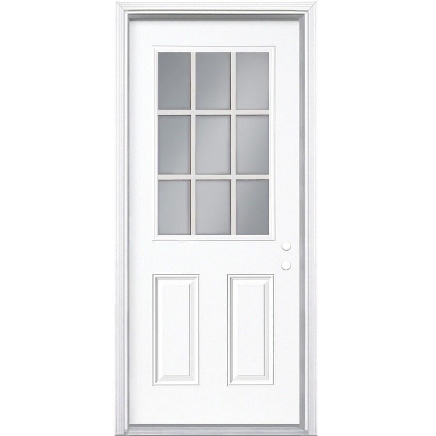 Masonite 2-Panel Insulating Core 9-Lite Left-Hand Inswing Steel Primed Prehung Entry Door (Common: 36-in x 78-in; Actual: 37.5-in x 79.5-in)