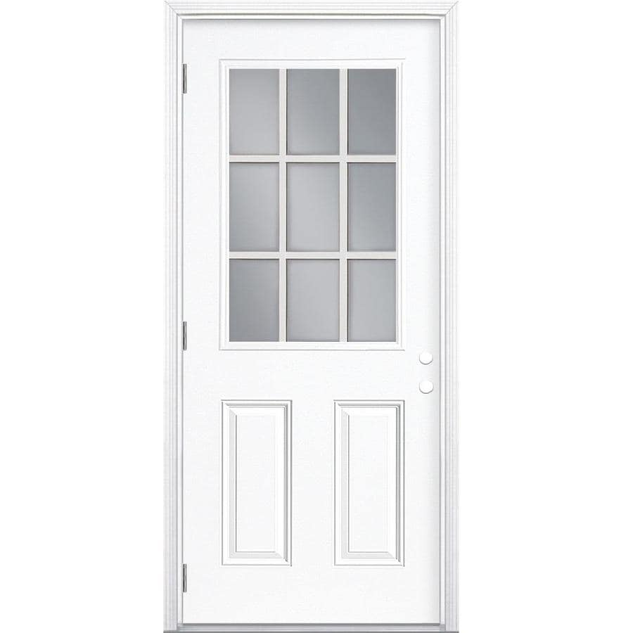 Masonite 2-Panel Insulating Core 9-Lite Right-Hand Outswing Primed Steel Prehung Entry Door (Common: 32-in x 80-in; Actual: 33.5-in x 80.375-in)