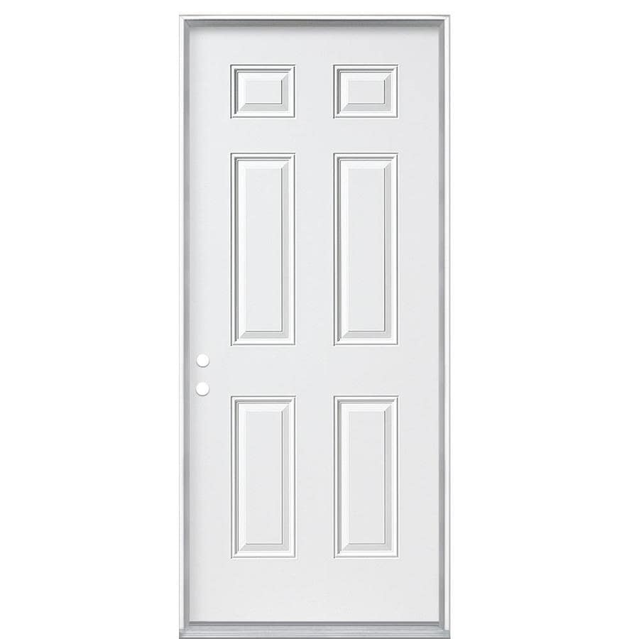 Masonite 6-Panel Insulating Core Right-Hand Inswing Steel Primed Prehung Entry Door (Common: 32-in x 80-in; Actual: 33.5-in x 81.5-in)