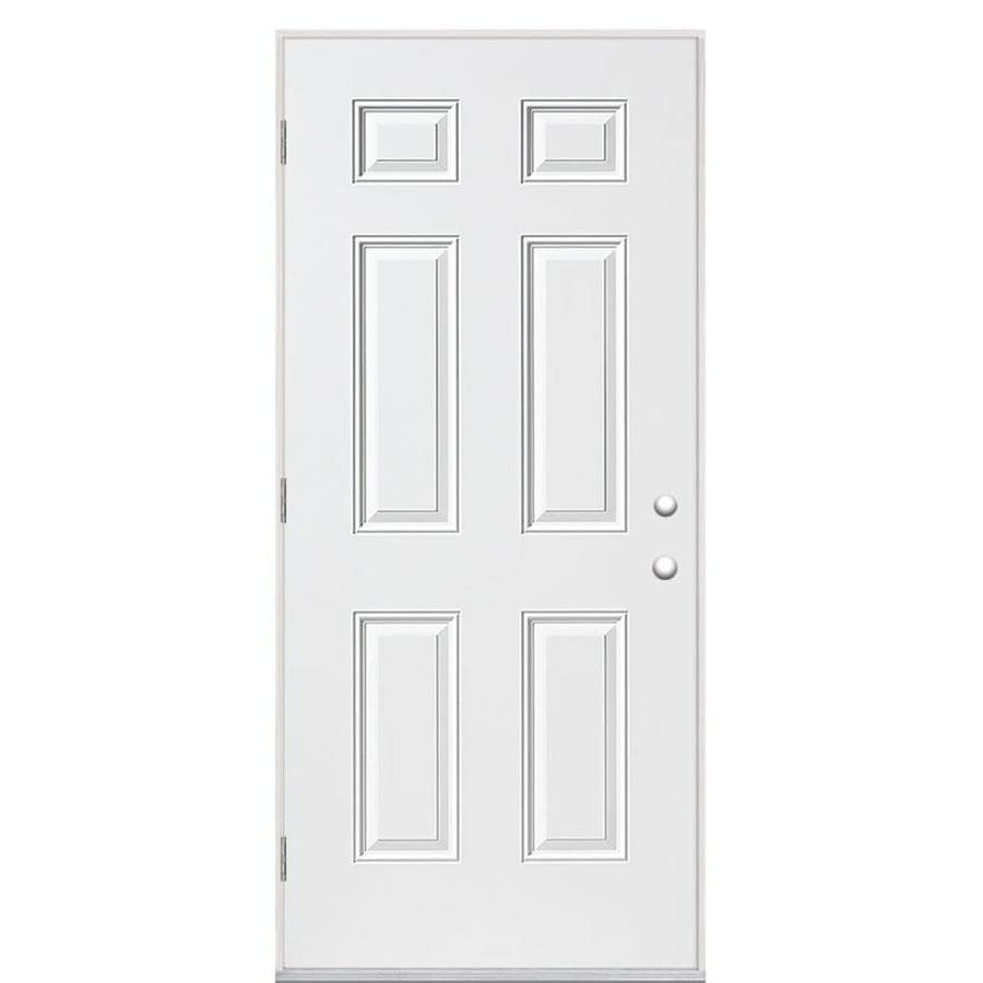 Masonite 6-Panel Insulating Core Right-Hand Outswing Primed Steel Prehung Entry Door (Common: 32-in x 80-in; Actual: 33.5-in x 80.375-in)