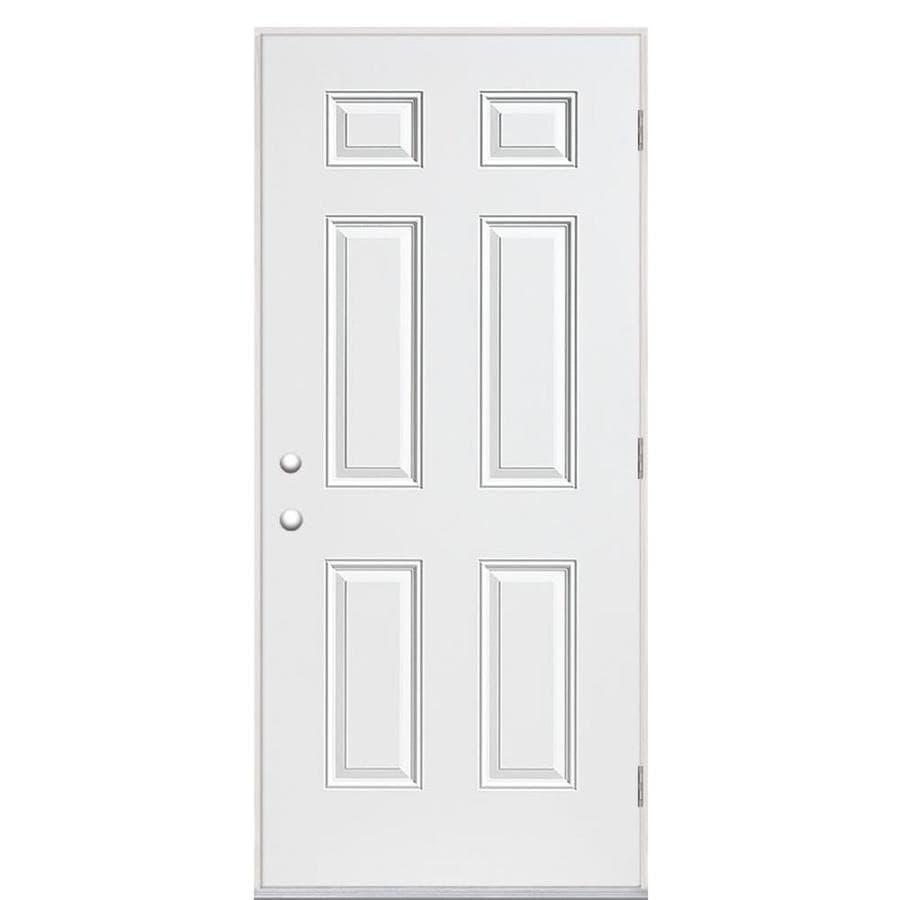 Masonite 6-Panel Insulating Core Left-Hand Outswing Primed Steel Prehung Entry Door (Common: 32-in x 80-in; Actual: 33.5-in x 80.375-in)