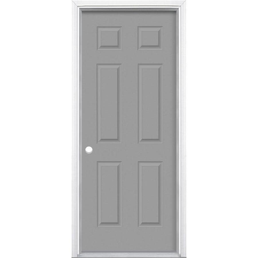 Masonite 6-Panel Insulating Core Right-Hand Inswing Primed Steel Prehung Entry Door (Common: 30-in x 80-in; Actual: 31.5-in x 81.5-in)