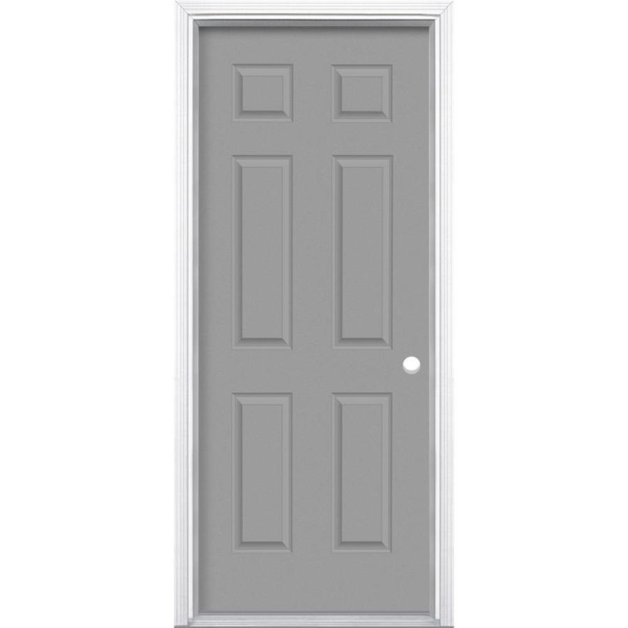 Masonite 6-Panel Insulating Core Left-Hand Inswing Primed Steel Prehung Entry Door (Common: 30-in x 80-in; Actual: 31.5-in x 81.5-in)
