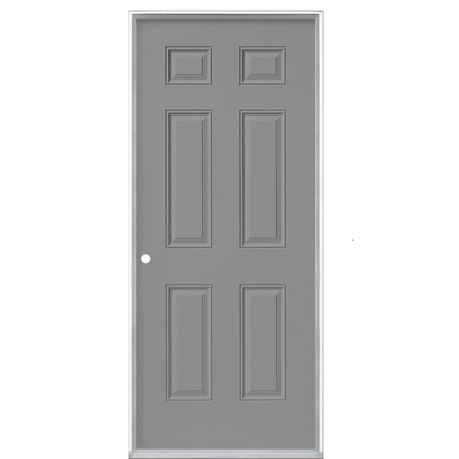 Masonite 6-Panel Insulating Core Right-Hand Inswing Primed Steel Prehung Entry Door (Common: 32-in x 80-in; Actual: 33.5-in x 81.5-in)