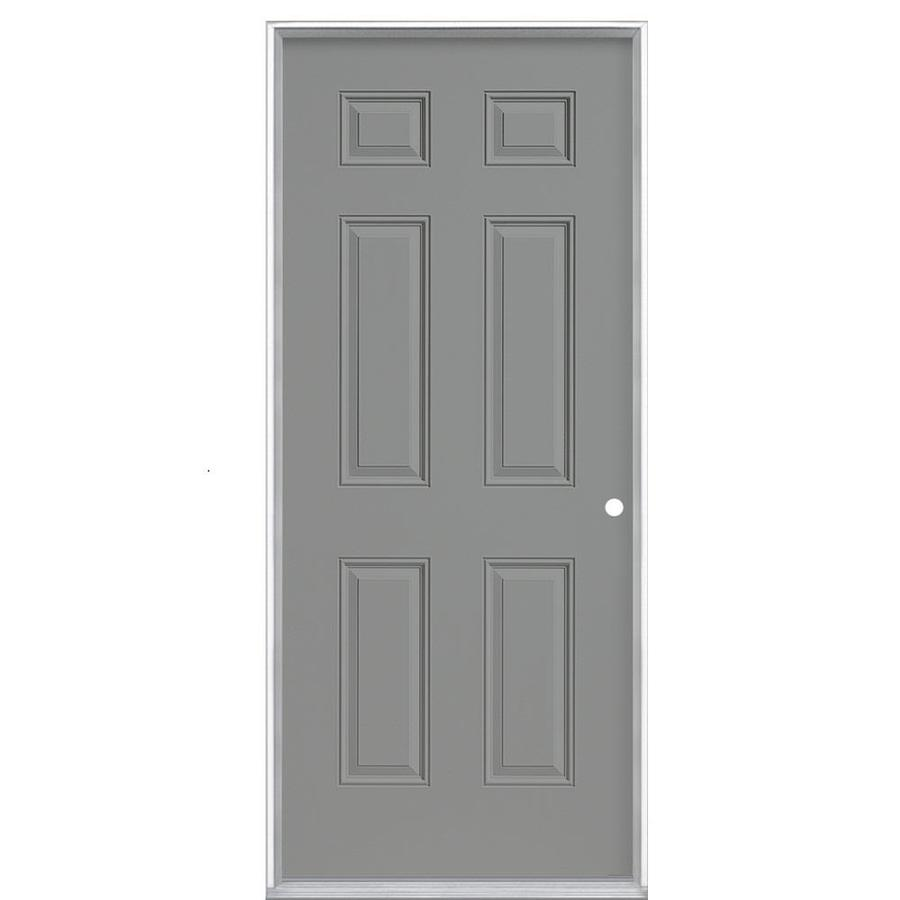 Masonite 6-Panel Insulating Core Left-Hand Inswing Primed Steel Prehung Entry Door (Common: 36-in x 80-in; Actual: 37.5-in x 81.5-in)