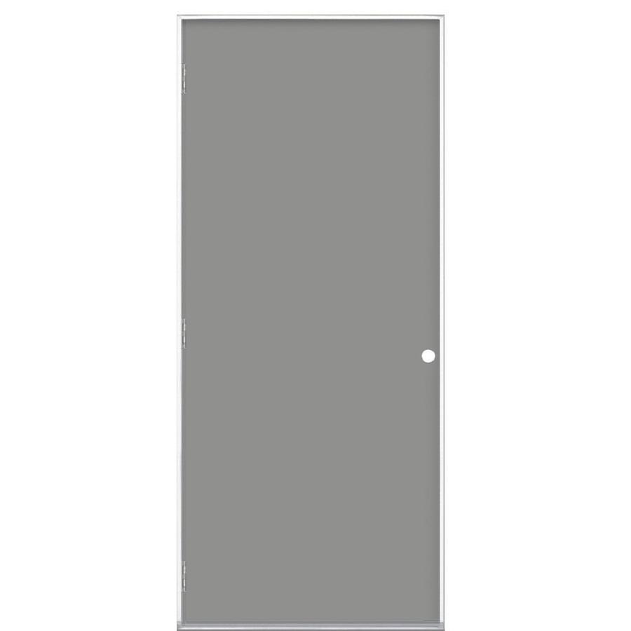 Masonite Flush Insulating Core Right-Hand Outswing Primed Steel Prehung Entry Door (Common: 32-in x 80-in; Actual: 33.5-in x 80.375-in)