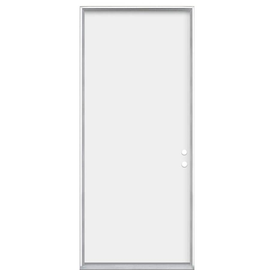 Masonite Flush Insulating Core Right-Hand Inswing Primed Steel Prehung Entry Door (Common: 30-in x 80-in; Actual: 31.5-in x 81.5-in)
