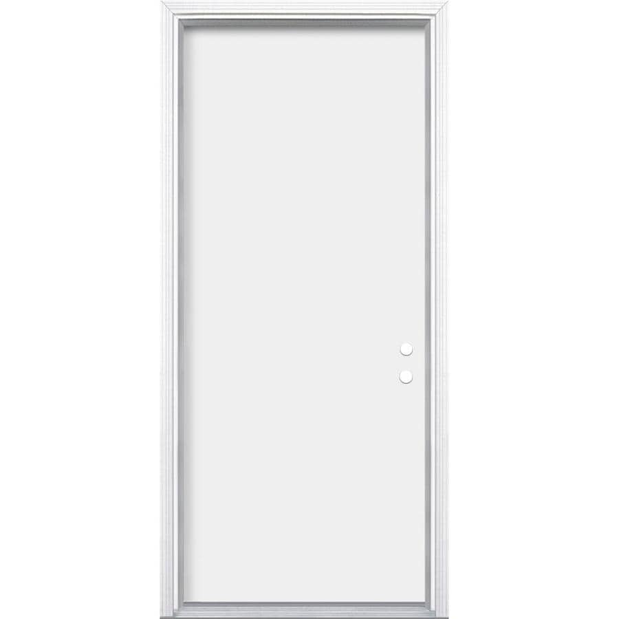 Masonite Flush Insulating Core Left-Hand Inswing Primed Steel Prehung Entry Door (Common: 32-in x 80-in; Actual: 33.5-in x 81.5-in)