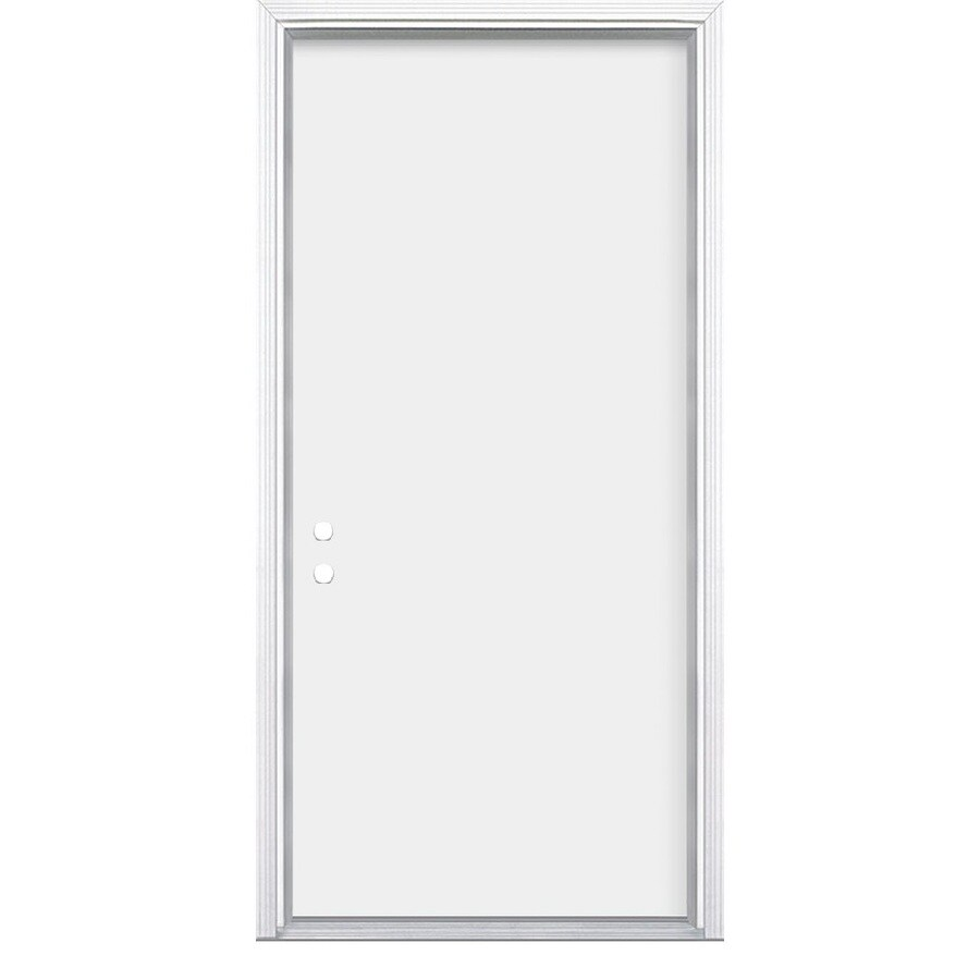 Masonite Flush Insulating Core Right-Hand Inswing Primed Steel Prehung Entry Door (Common: 32-in x 80-in; Actual: 33.5-in x 81.5-in)