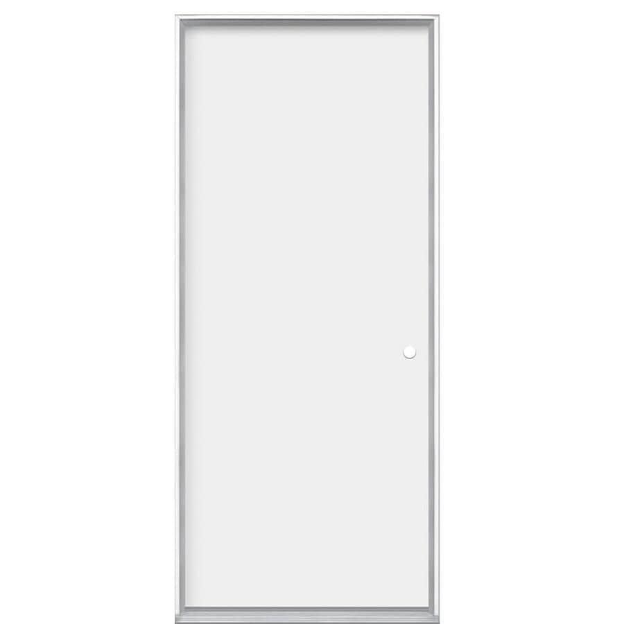 Masonite Flush Insulating Core Left-Hand Inswing Primed Steel Prehung Entry Door (Common: 36-in x 80-in; Actual: 37.5-in x 81.5-in)