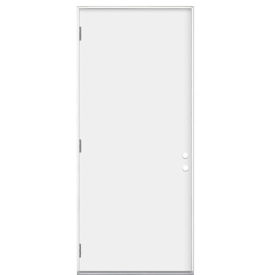 Masonite Flush Insulating Core Right-Hand Inswing Primed Steel Prehung Entry Door (Common: 36-in x 80-in; Actual: 37.5-in x 81.5-in)