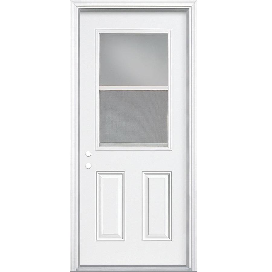Masonite 2-Panel Insulating Core Vented Glass with Screen Right-Hand Inswing Primed Steel Prehung Entry Door (Common: 32-in x 80-in; Actual: 33.5-in x 81.5-in)