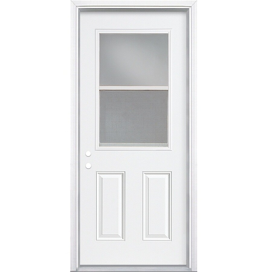 Masonite 2-Panel Insulating Core Vented Glass with Screen Right-Hand Inswing Primed Steel Prehung Entry Door (Common: 36-in x 80-in; Actual: 37.5-in x 81.5-in)