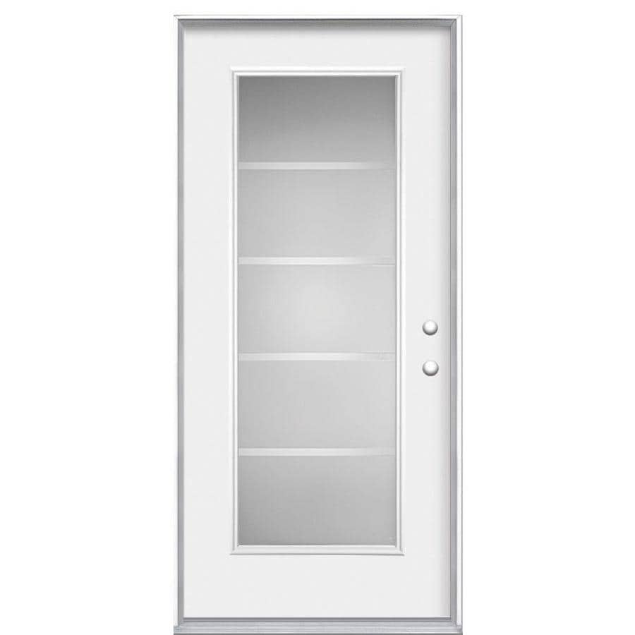 Masonite Crosslines Flush Insulating Core Full Lite Right-Hand Inswing Primed Steel Prehung Entry Door (Common: 36-in x 80-in; Actual: 37.5-in x 81.5-in)