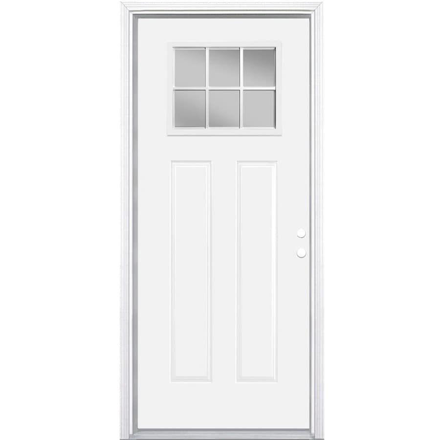 Masonite 2-Panel Insulating Core Craftsman 6-Lite Left-Hand Inswing Primed Steel Prehung Entry Door (Common: 30-in x 80-in; Actual: 31.5-in x 81.5-in)