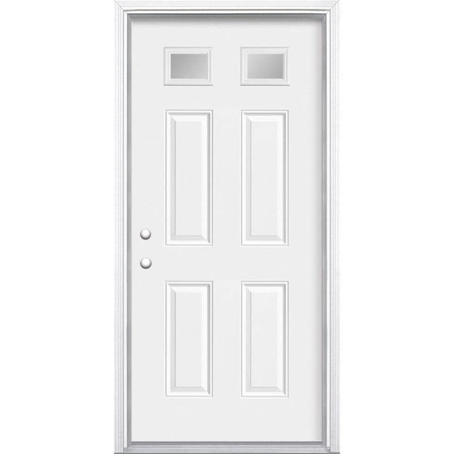 Masonite 4-Panel Insulating Core Morelight Right-Hand Inswing Primed Steel Prehung Entry Door (Common: 32-in x 80-in; Actual: 33.5-in x 81.5-in)