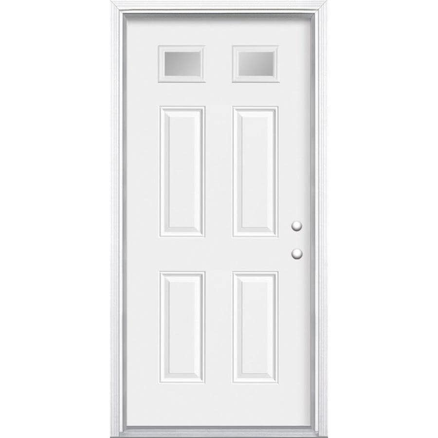 Masonite 4-Panel Insulating Core Morelight Left-Hand Inswing Primed Steel Prehung Entry Door (Common: 32-in x 80-in; Actual: 33.5-in x 81.5-in)