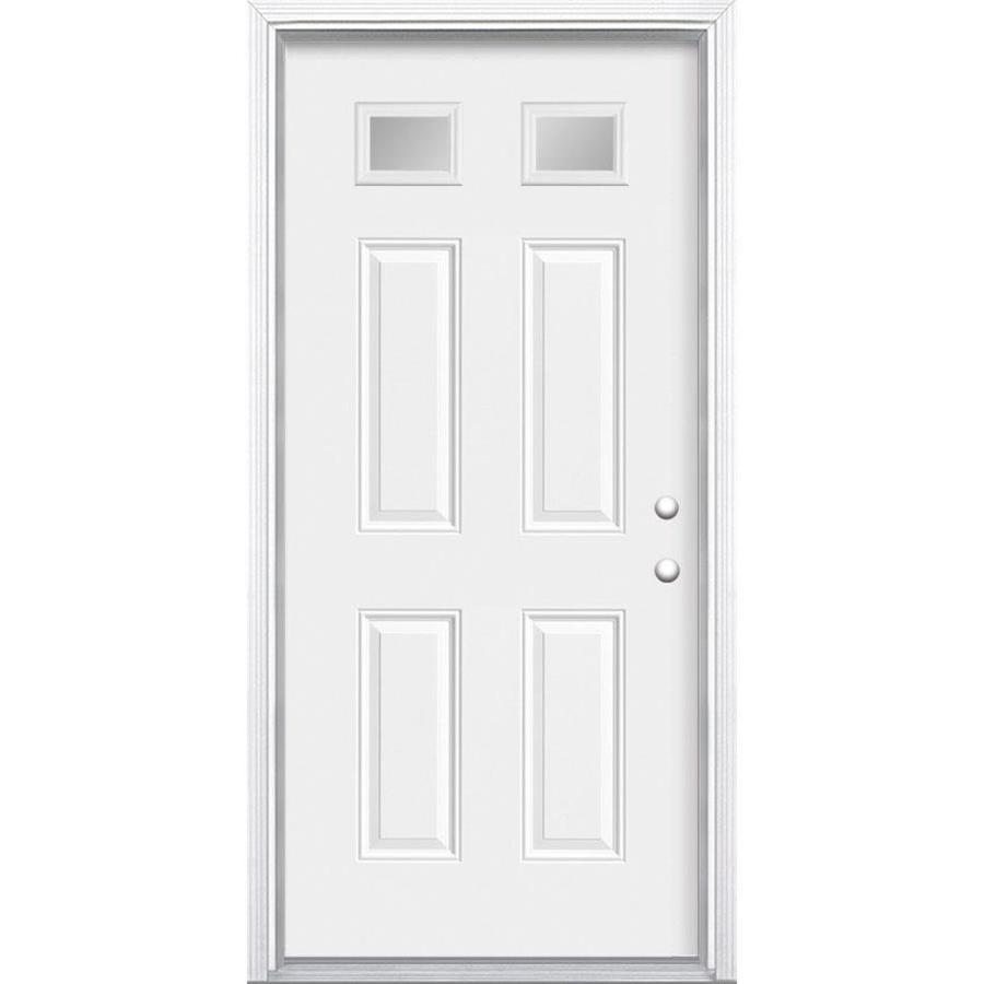 Masonite 4-Panel Insulating Core Morelight Left-Hand Inswing Primed Steel Prehung Entry Door (Common: 36-in x 80-in; Actual: 37.5-in x 81.5-in)