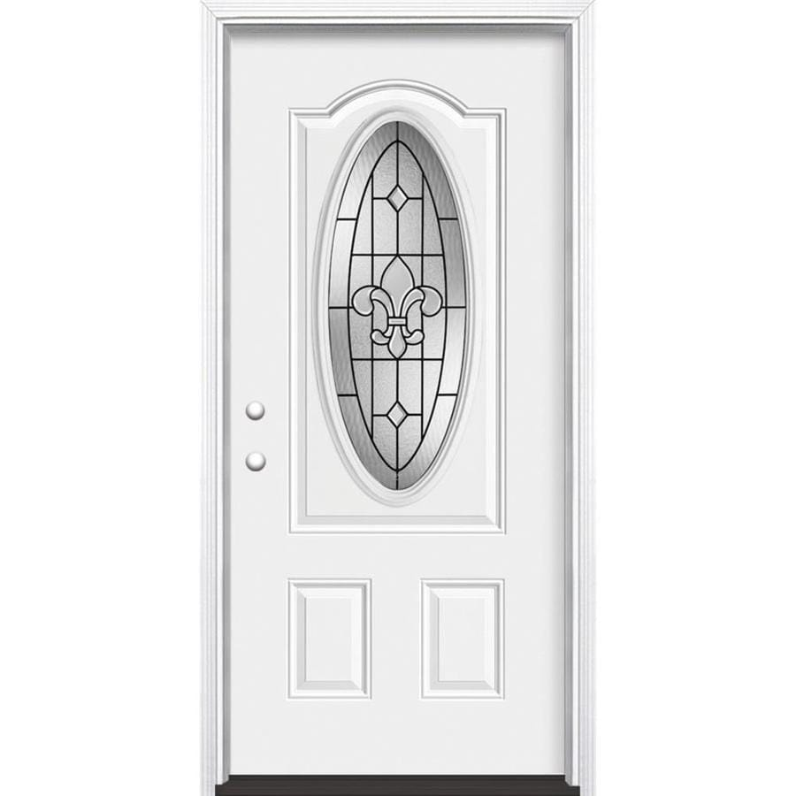 Masonite Nola 2-Panel Insulating Core Oval Lite Right-Hand Inswing Primed Steel Prehung Entry Door (Common: 36-in x 80-in; Actual: 37.5-in x 81.5-in)