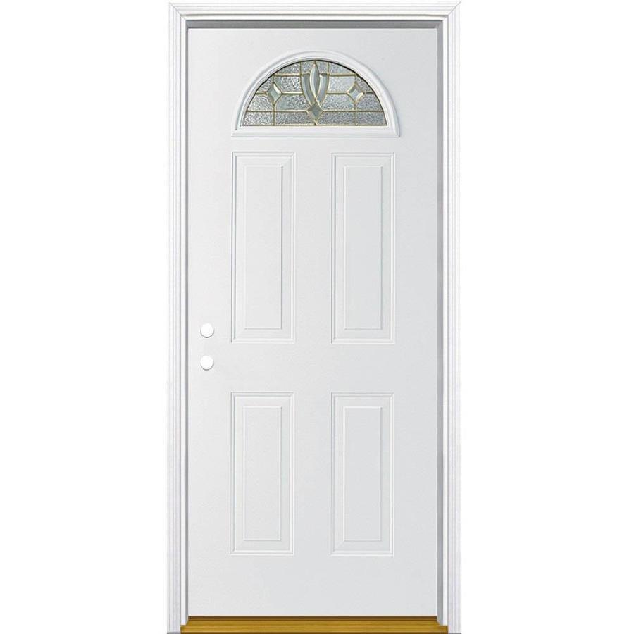 Masonite Laurel 4-Panel Insulating Core Fan Lite Right-Hand Inswing Primed Steel Prehung Entry Door (Common: 32-in x 80-in; Actual: 33.5-in x 81.5-in)