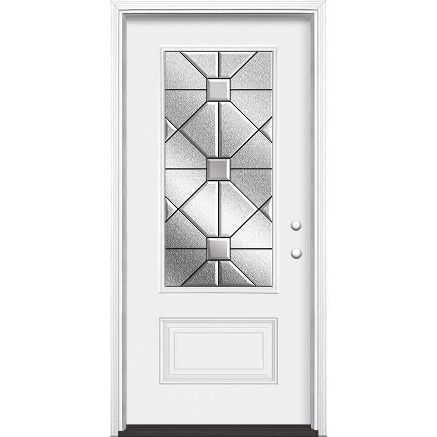 Masonite Hancock 1-Panel Insulating Core 3/4 Lite Left-Hand Inswing Primed Steel Prehung Entry Door (Common: 36-in x 80-in; Actual: 37.5-in x 81.5-in)