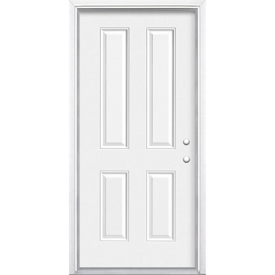 Masonite 4-Panel Insulating Core Left-Hand Inswing Primed Steel Prehung Entry Door (Common: 32-in x 80-in; Actual: 33.5-in x 81.5-in)