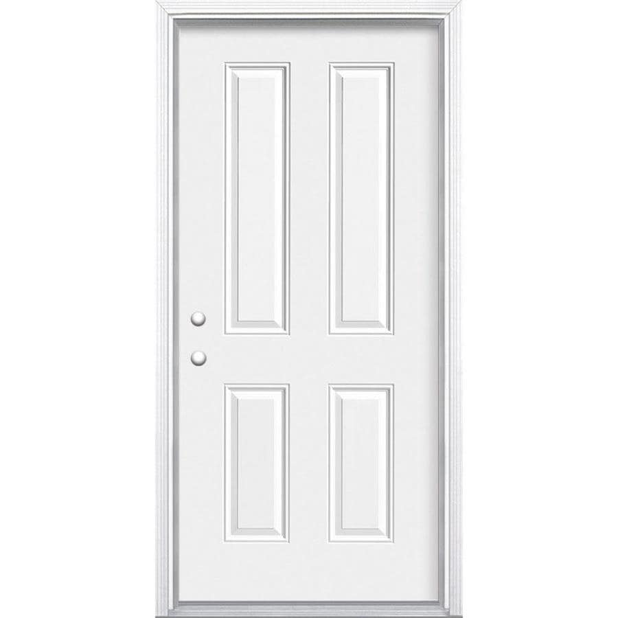 Masonite 4-Panel Insulating Core Right-Hand Inswing Primed Steel Prehung Entry Door (Common: 36-in x 80-in; Actual: 37.5-in x 81.5-in)