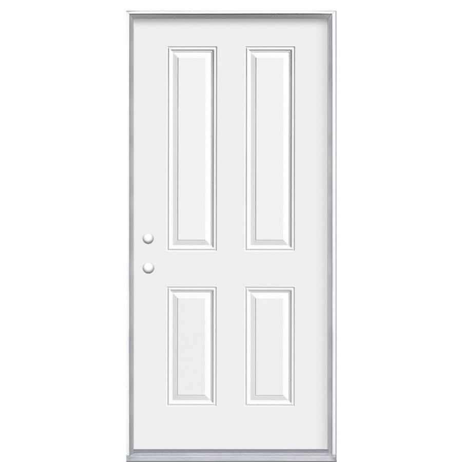 Masonite 4-Panel Insulating Core Right-Hand Inswing Primed Steel Prehung Entry Door (Common: 32-in x 80-in; Actual: 33.5-in x 81.5-in)