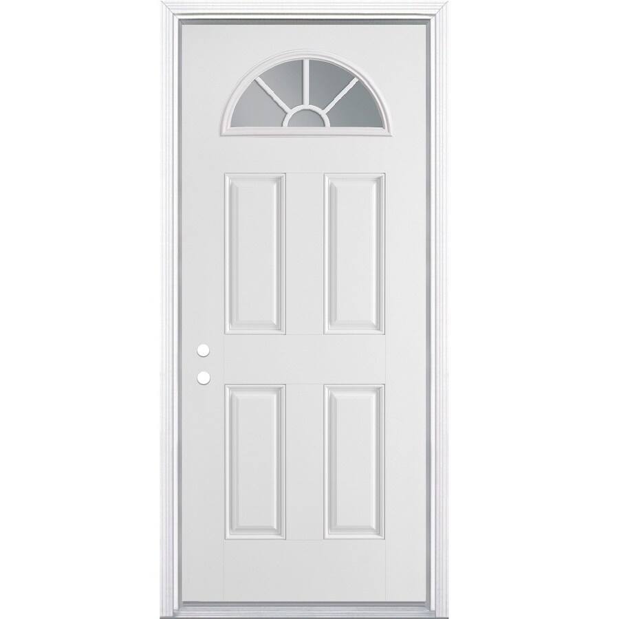 Masonite 4-Panel Insulating Core Fan Lite Right-Hand Inswing Primed Steel Prehung Entry Door (Common: 32-in x 78-in; Actual: 33.5-in x 79.5-in)
