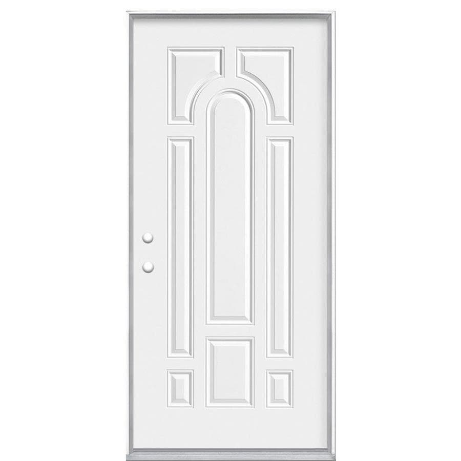 Masonite 8-Panel Insulating Core Right-Hand Inswing Primed Steel Prehung Entry Door (Common: 32-in x 80-in; Actual: 33.5-in x 81.5-in)