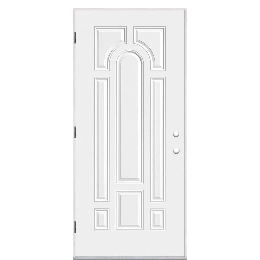 Masonite 8-Panel Insulating Core Right-Hand Outswing Primed Steel Prehung Entry Door (Common: 32-in x 80-in; Actual: 33.5-in x 80.375-in)