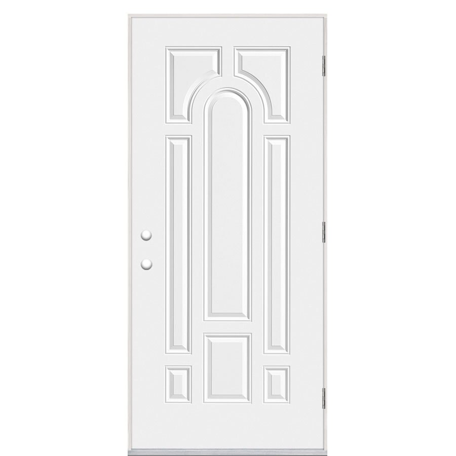 Masonite 8-Panel Insulating Core Left-Hand Outswing Primed Steel Prehung Entry Door (Common: 32-in x 80-in; Actual: 33.5-in x 80.375-in)