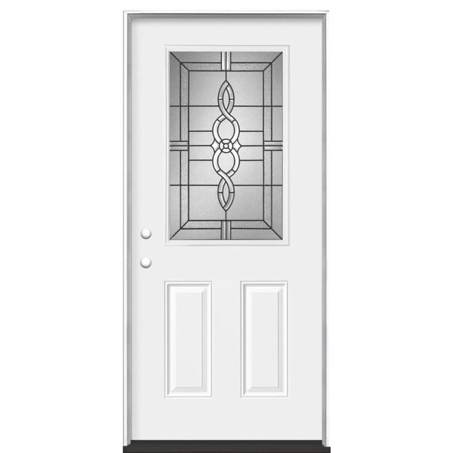 Masonite Calista 2-Panel Insulating Core Half Lite Right-Hand Inswing Primed Steel Prehung Entry Door (Common: 36-in x 80-in; Actual: 37.5-in x 81.5-in)