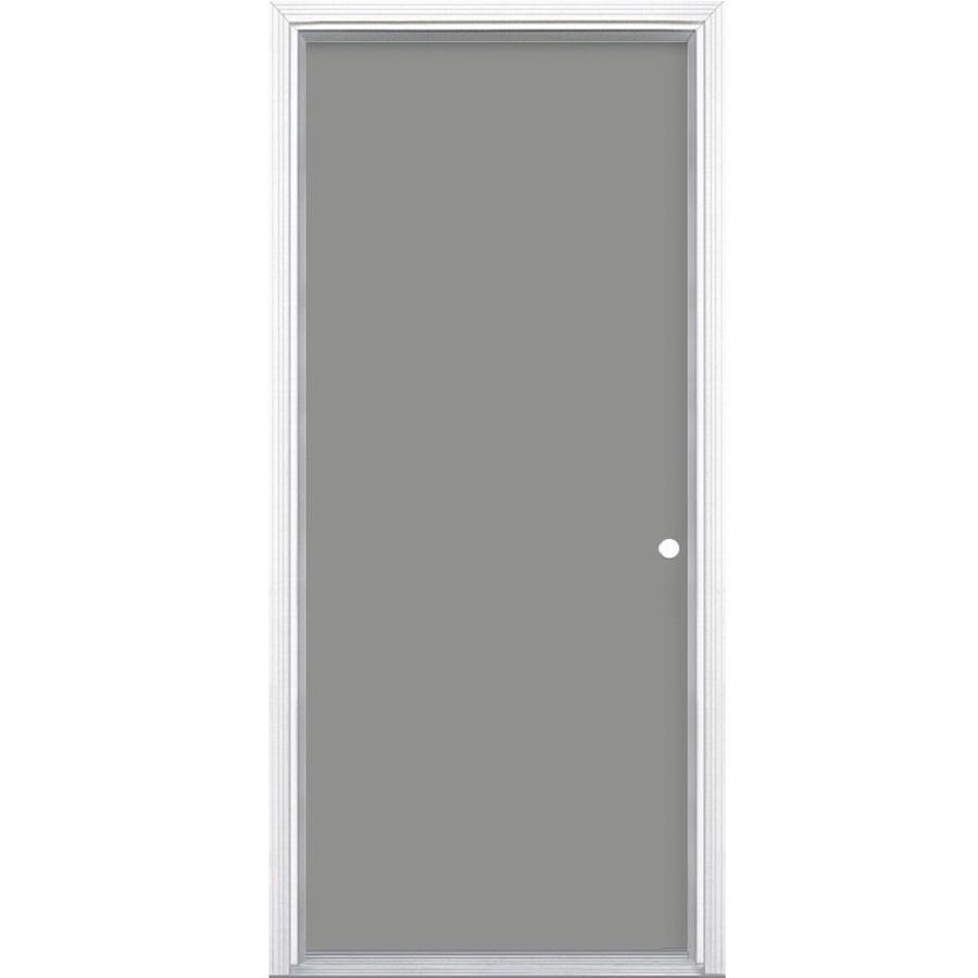 Masonite 6-Panel Insulating Core Left-Hand Inswing Primed Steel Prehung Entry Door (Common: 28-in x 78-in; Actual: 29.5-in x 79.5-in)