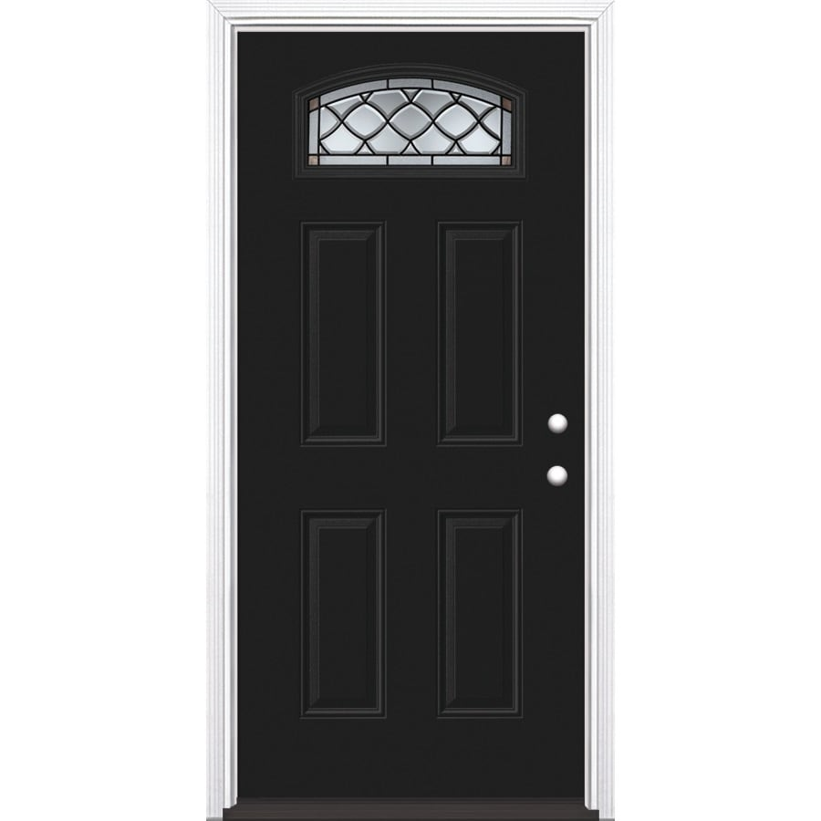 Masonite 4-Panel Insulating Core Morelight Left-Hand Inswing Eclipse Steel Painted Prehung Entry Door (Common: 36-in x 80-in; Actual: 37.5-in x 81.5-in)