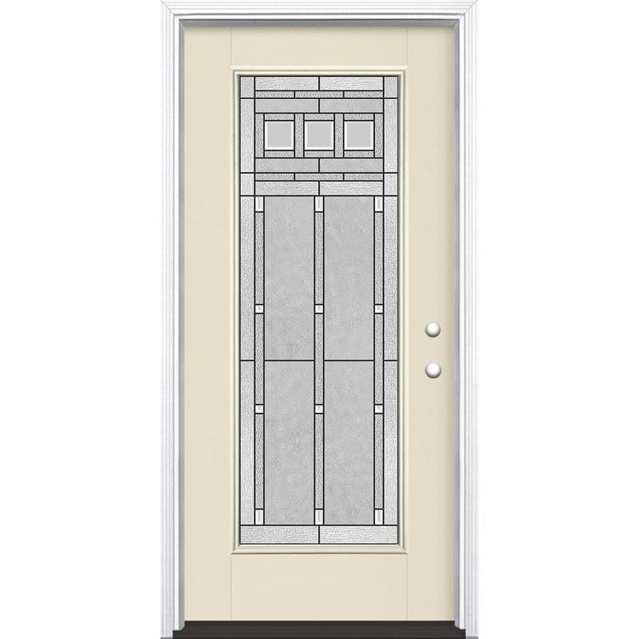 Masonite Craftsman Glass Flush Insulating Core Full Lite Left-Hand Inswing Bisque Fiberglass Painted Prehung Entry Door (Common: 36-in x 80-in; Actual: 37.5-in x 81.5-in)