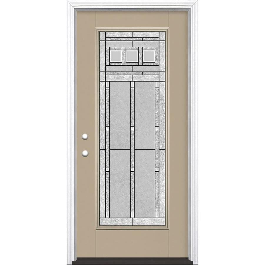 Masonite Craftsman Glass Flush Insulating Core Full Lite Right-Hand Inswing Sandy Shore Fiberglass Painted Prehung Entry Door (Common: 36-in x 80-in; Actual: 37.5-in x 81.5-in)