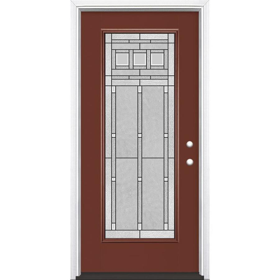 Masonite Craftsman Glass Flush Insulating Core Full Lite Left-Hand Inswing Fox Tail Fiberglass Painted Prehung Entry Door (Common: 36-in x 80-in; Actual: 37.5-in x 81.5-in)