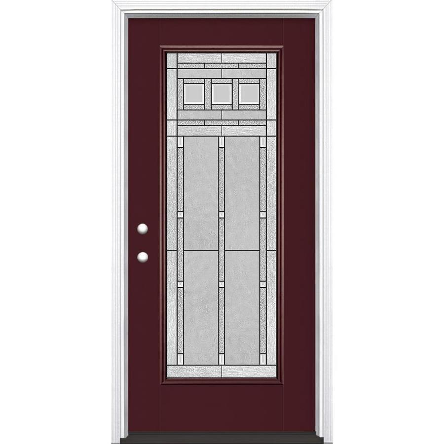 Masonite Craftsman Glass Flush Insulating Core Full Lite Right-Hand Inswing Currant Fiberglass Painted Prehung Entry Door (Common: 36-in x 80-in; Actual: 37.5-in x 81.5-in)