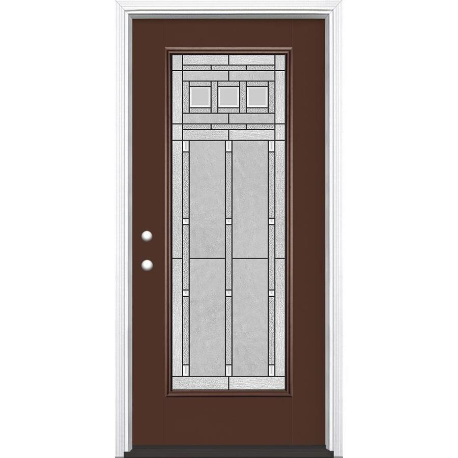 Masonite Craftsman Glass Flush Insulating Core Full Lite Right-Hand Inswing Chocolate Fiberglass Painted Prehung Entry Door (Common: 36-in x 80-in; Actual: 37.5-in x 81.5-in)
