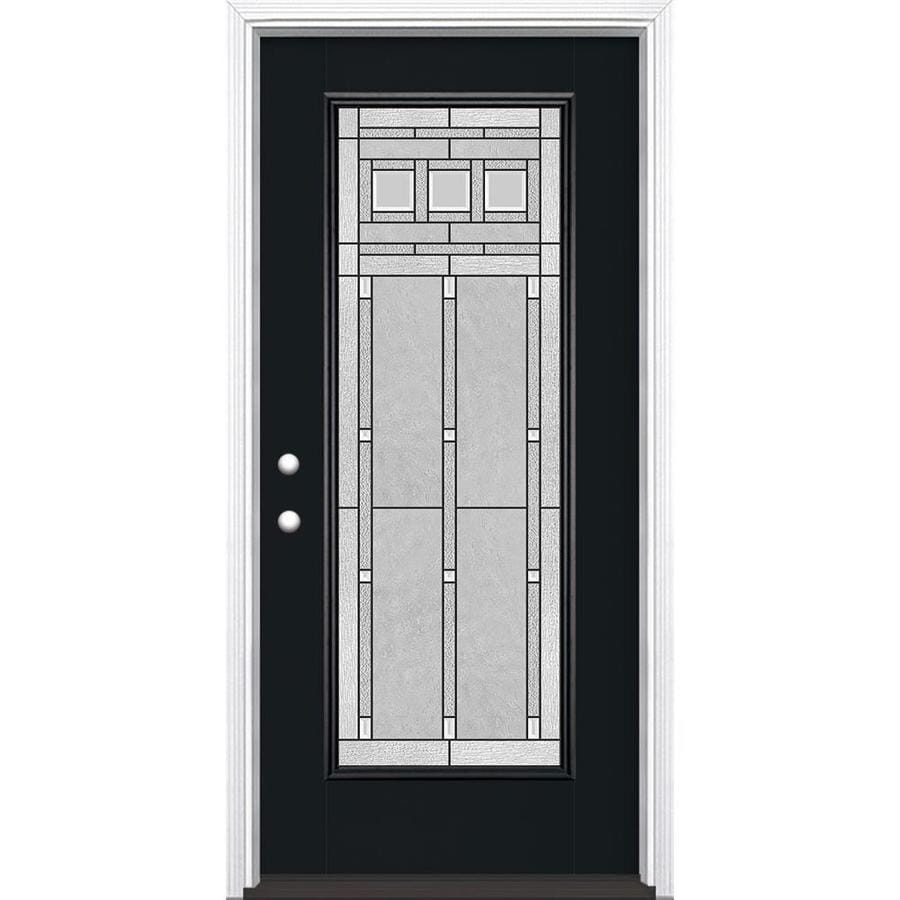 Masonite Craftsman Glass Flush Insulating Core Full Lite Right-Hand Inswing Peppercorn Fiberglass Painted Prehung Entry Door (Common: 36-in x 80-in; Actual: 37.5-in x 81.5-in)
