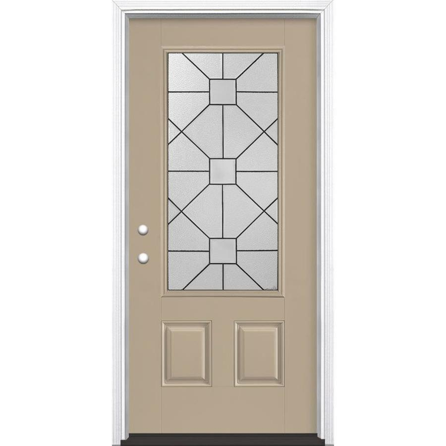 Masonite Hancock 2-Panel Insulating Core 3/4 Lite Right-Hand Inswing Sandy Shore Fiberglass Painted Prehung Entry Door (Common: 36-in x 80-in; Actual: 37.5-in x 81.5-in)