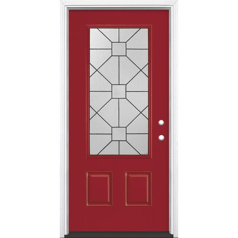 Masonite Hancock 2-Panel Insulating Core 3/4 Lite Left-Hand Inswing Roma Red Fiberglass Painted Prehung Entry Door (Common: 36-in x 80-in; Actual: 37.5-in x 81.5-in)