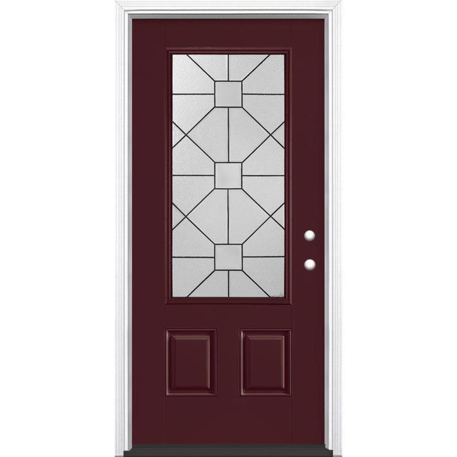 Masonite Hancock 2-Panel Insulating Core 3/4 Lite Left-Hand Inswing Currant Fiberglass Painted Prehung Entry Door (Common: 36-in x 80-in; Actual: 37.5-in x 81.5-in)