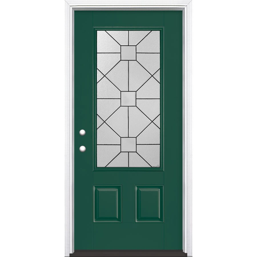 Masonite Hancock 2-Panel Insulating Core 3/4 Lite Right-Hand Inswing Evergreen Fiberglass Painted Prehung Entry Door (Common: 36-in x 80-in; Actual: 37.5-in x 81.5-in)
