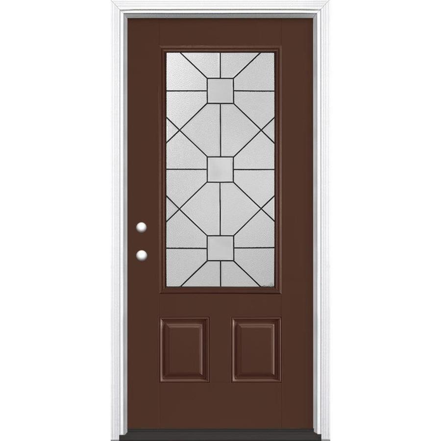 Masonite Hancock 2-Panel Insulating Core 3/4 Lite Right-Hand Inswing Chocolate Fiberglass Painted Prehung Entry Door (Common: 36-in x 80-in; Actual: 37.5-in x 81.5-in)