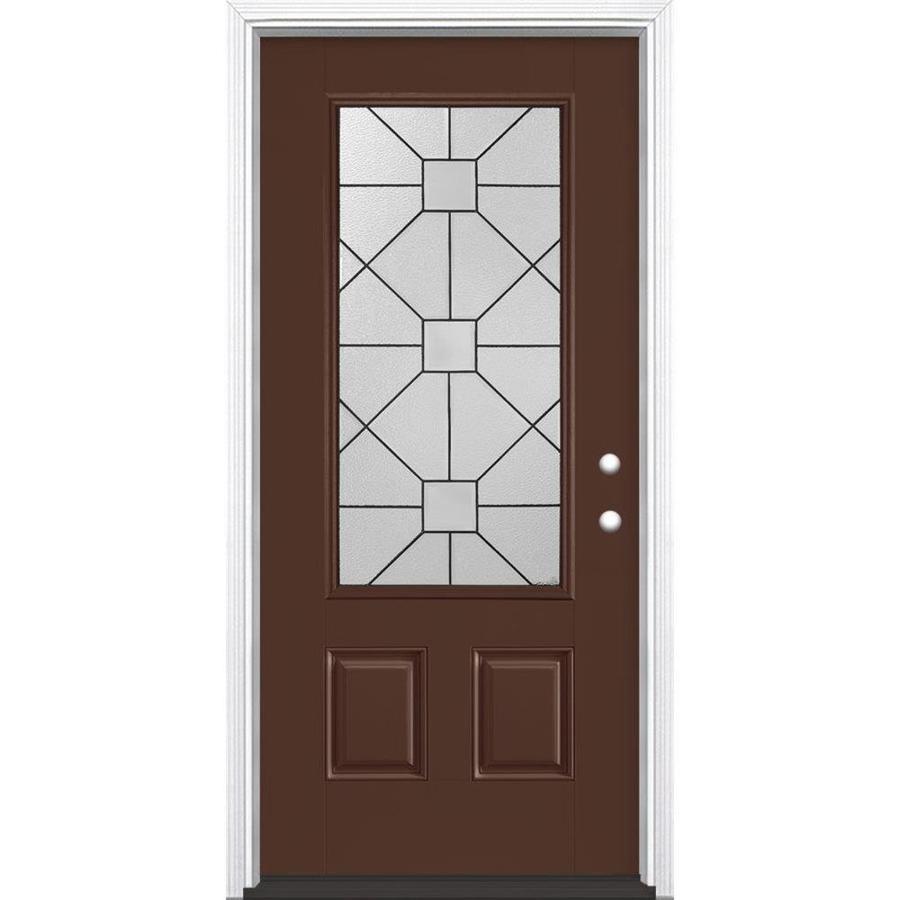 Masonite Hancock 2-Panel Insulating Core 3/4 Lite Left-Hand Inswing Chocolate Fiberglass Painted Prehung Entry Door (Common: 36-in x 80-in; Actual: 37.5-in x 81.5-in)