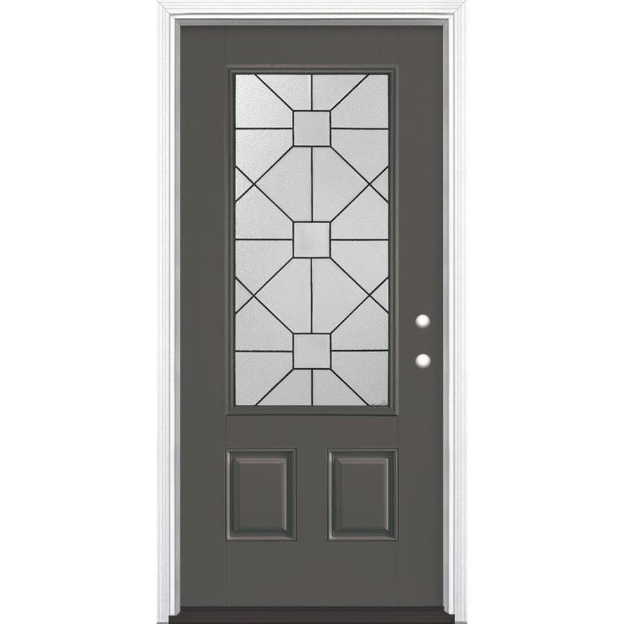 Masonite Hancock 2-Panel Insulating Core 3/4 Lite Left-Hand Inswing Timber Gray Fiberglass Painted Prehung Entry Door (Common: 36-in x 80-in; Actual: 37.5-in x 81.5-in)